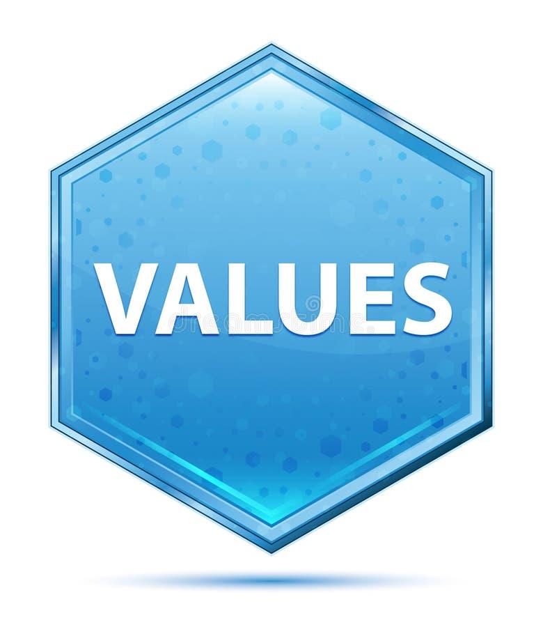 Values crystal blue hexagon button. Values Isolated on crystal blue hexagon button stock illustration