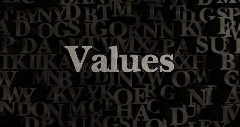 Values - 3D rendered metallic typeset headline illustration. Can be used for an online banner ad or a print postcard stock illustration