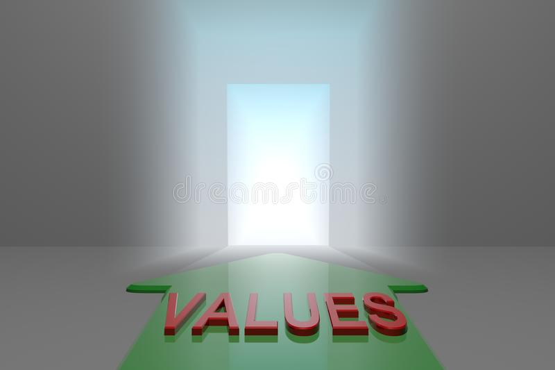 Values to the open gate. Green arrow with values word front of the open gate , 3d rendered vector illustration