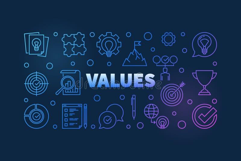 Values vector colored line banner on dark background vector illustration