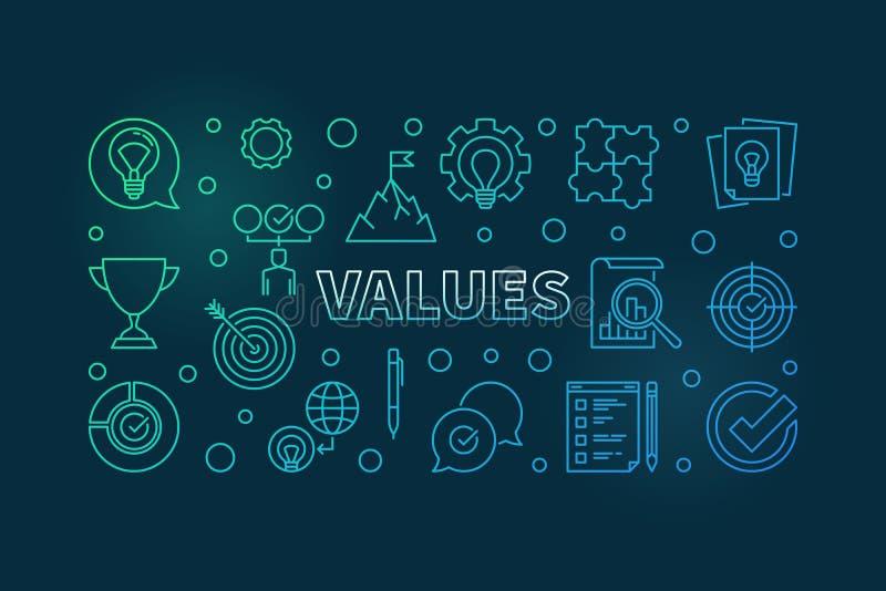 Values vector horizontal colorful outline illustration or banner vector illustration