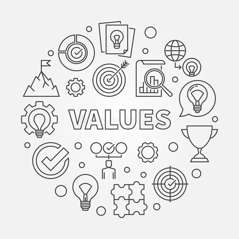 Values vector round concept outline illustration. Values vector round concept minimal outline illustration vector illustration