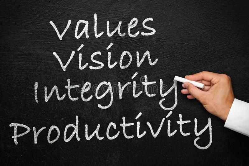 Values, vision, integrity and productivity. Blackboard with hand with chalk in hand. Values, vision, integrity and productivity. How to build a company culture royalty free stock photos
