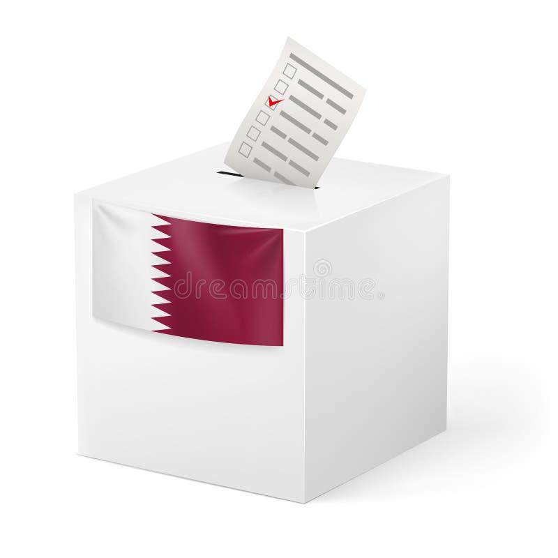 Valurna med röstsedel. Qatar stock illustrationer