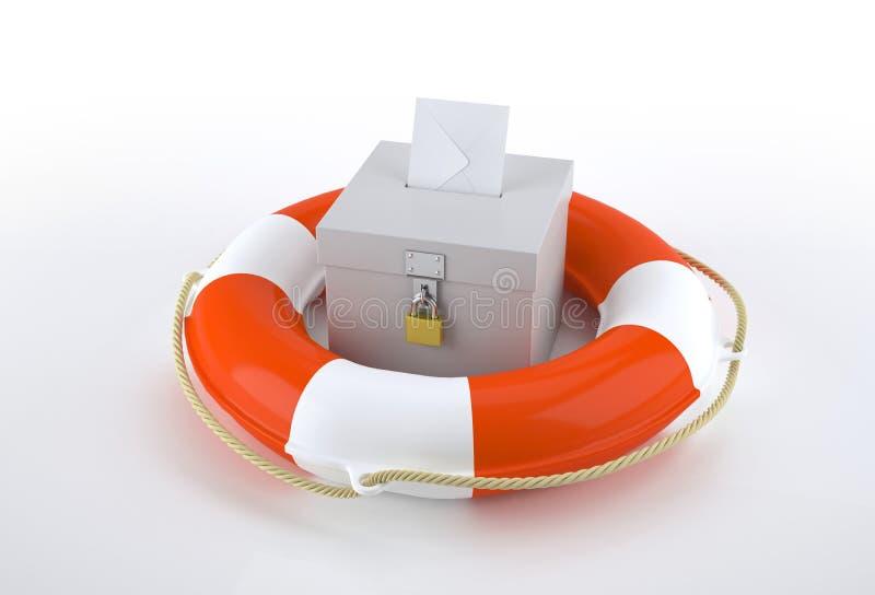 Valurna- och räddningsaktionboj stock illustrationer