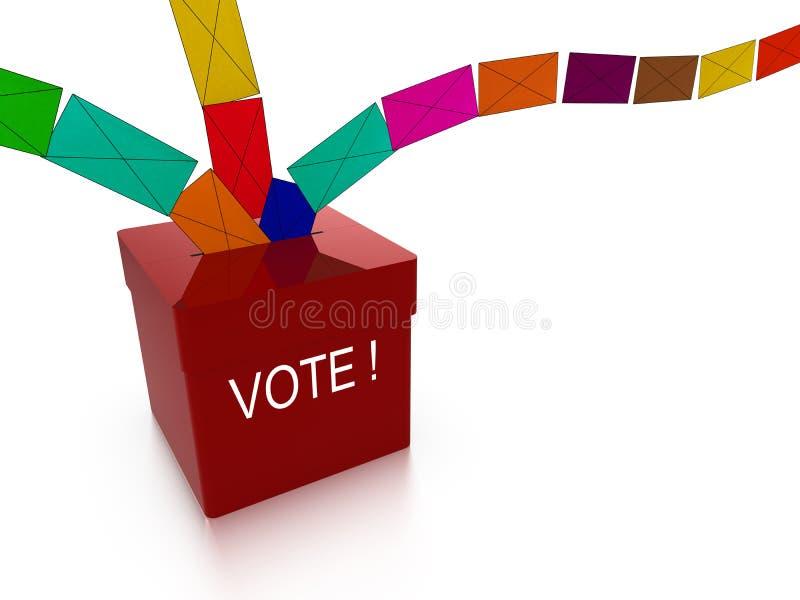 Valurnan med kulört röstar flyg in vektor illustrationer