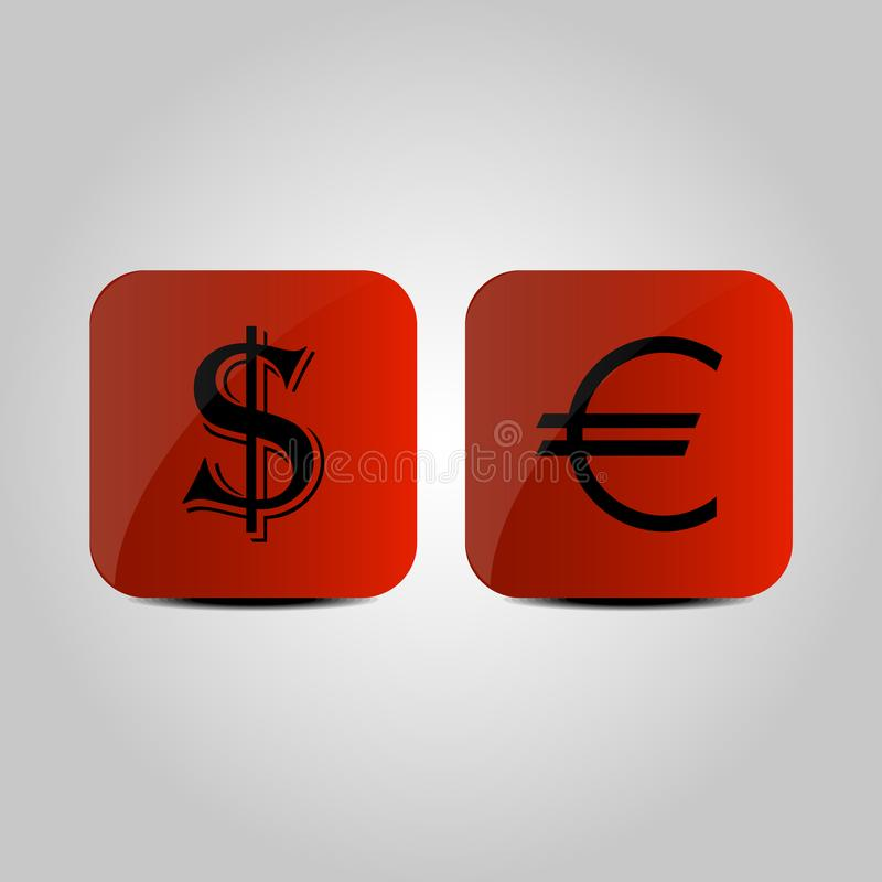 Valuta av USA och eurosymbolet på en grå bakgrund stock illustrationer