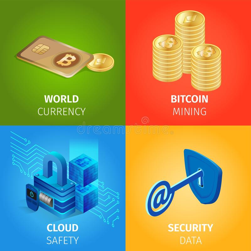 Valuta Bitcoin som bryter, moln, säkerhetsdata royaltyfri illustrationer