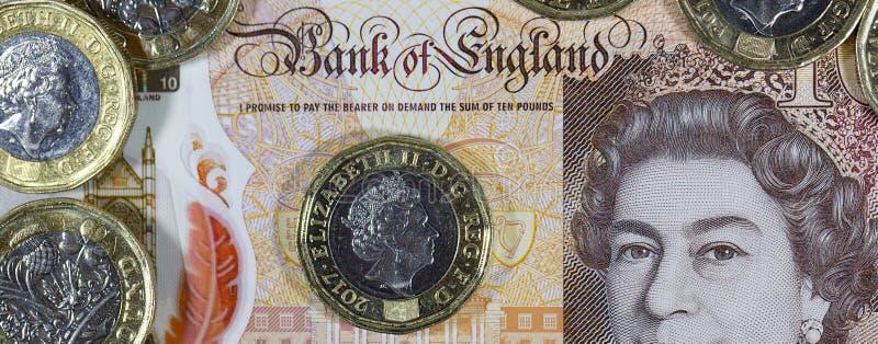Valuta britannica - nuovo polimero una nota da dieci libbre fotografie stock libere da diritti