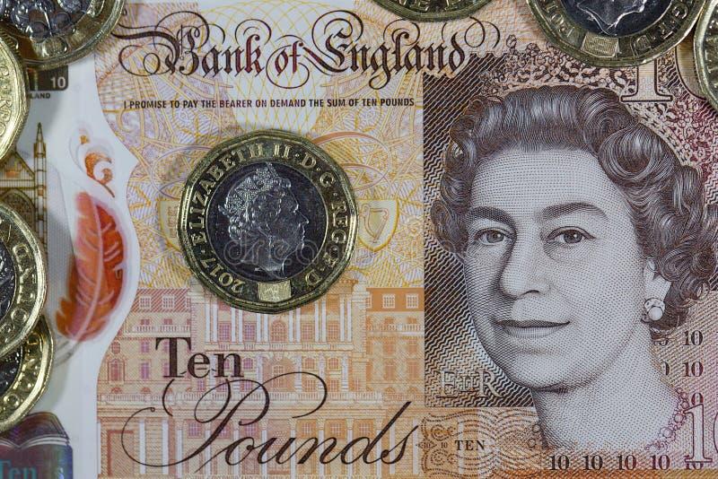 Valuta britannica - nuovo polimero una nota da dieci libbre fotografia stock