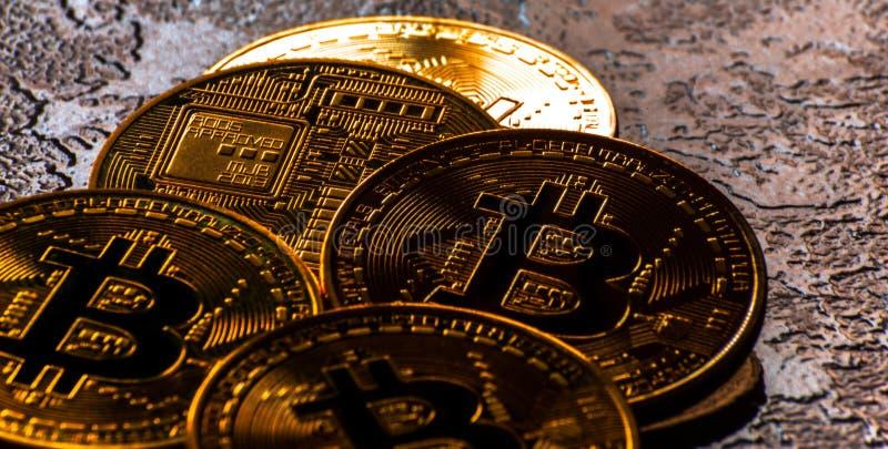 Valuta cripto Bitcoin dorato, BTC, moneta macro presa, bitcoin MI immagine stock libera da diritti