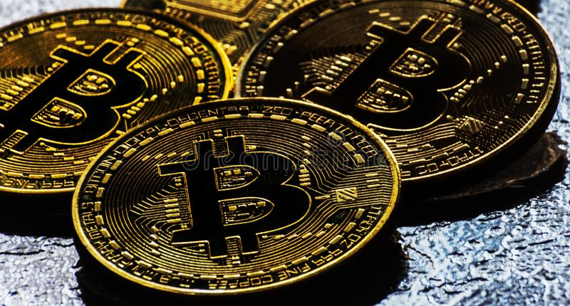 Valuta cripto Bitcoin dorato, BTC, moneta macro presa, bitcoin MI immagini stock libere da diritti