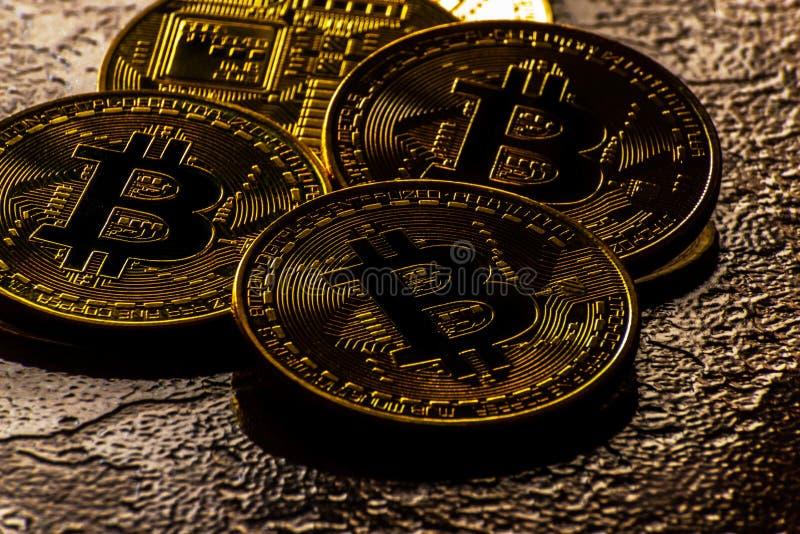 Valuta cripto Bitcoin dorato, BTC, moneta macro presa, bitcoin MI fotografia stock