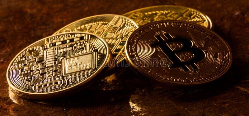 Valuta cripto Bitcoin dorato, BTC, moneta macro presa, bitcoin MI immagine stock