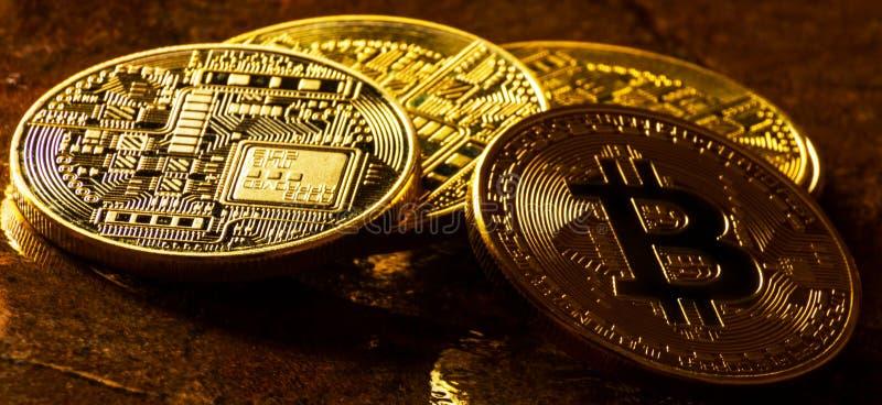 Valuta cripto Bitcoin dorato, BTC, moneta macro presa, bitcoin MI immagini stock