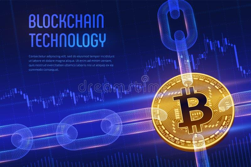 Valuta cripto Catena di blocco Bitcoin bitcoin dorato fisico isometrico 3D con la catena del wireframe su fondo finanziario blu B illustrazione di stock