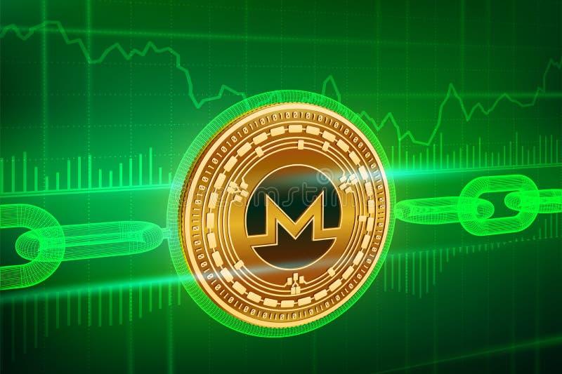 Valuta cripto Catena di blocco Monero moneta dorata fisica isometrica di 3D Monero con la catena del wireframe Concetto di Blockc illustrazione di stock