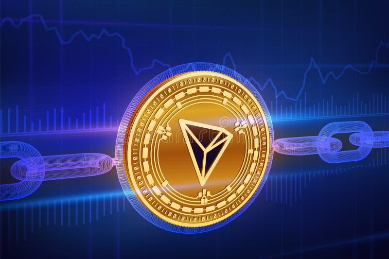 Valuta cripto Catena di blocco tron moneta dorata fisica isometrica di 3D Tron con la catena del wireframe Concetto di Blockchain illustrazione di stock