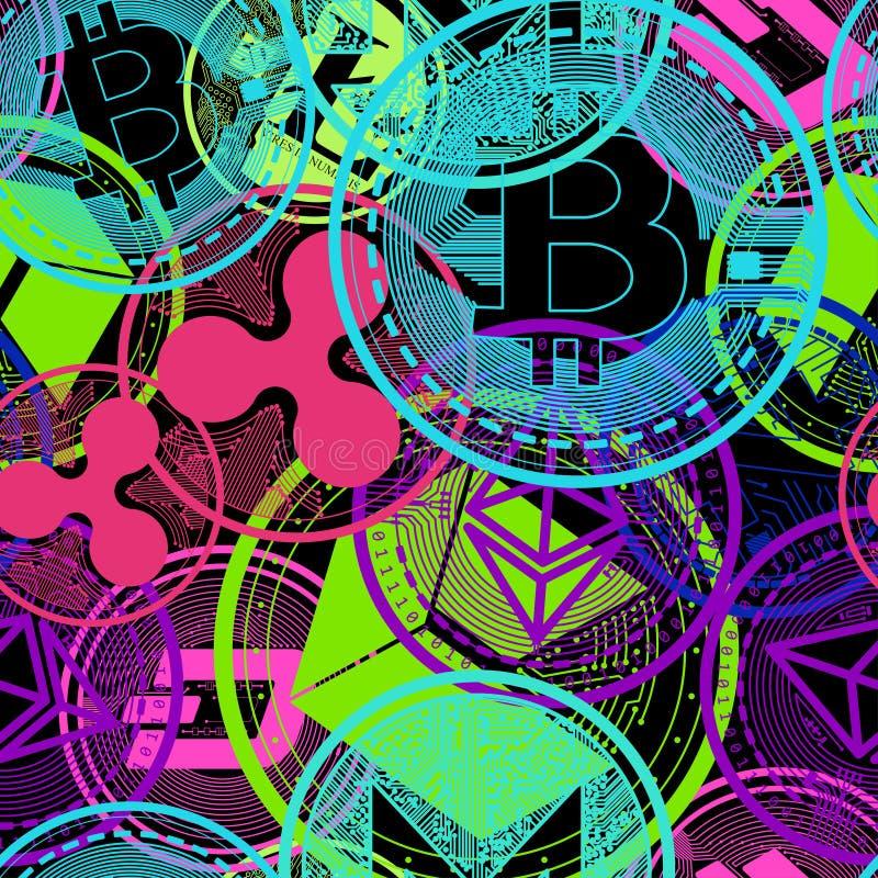 Valuta cripto di colore al neon royalty illustrazione gratis