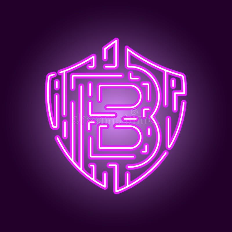 Valuta cripto di valuta digitale di Bitcoin Il concetto di sicurezza della valuta cripto Logo al neon di stile illustrazione di stock