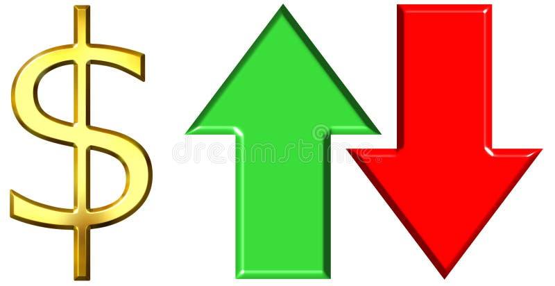 Valuta d'innalzamento e di caduta del dollaro illustrazione di stock