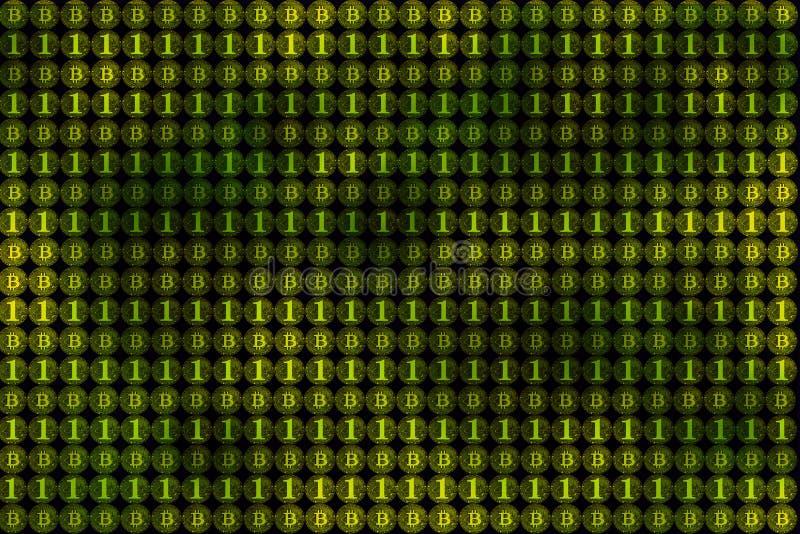 Valuta di Digital e concetto finanziario di affari, parete del bitcoin, b fotografie stock