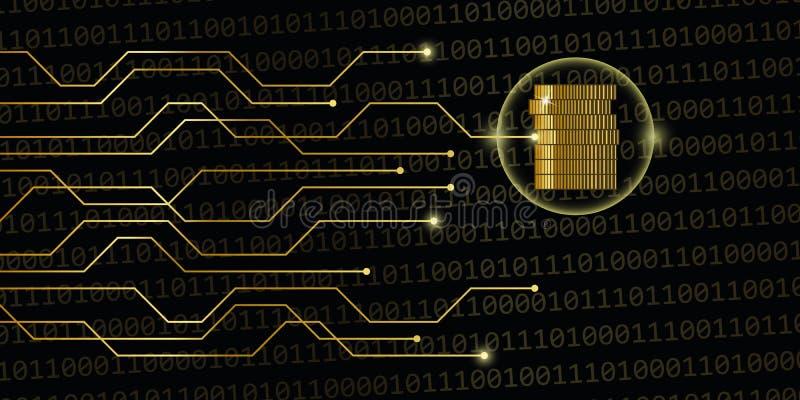 Valuta di Digital sul codice binario dorato con le monete royalty illustrazione gratis