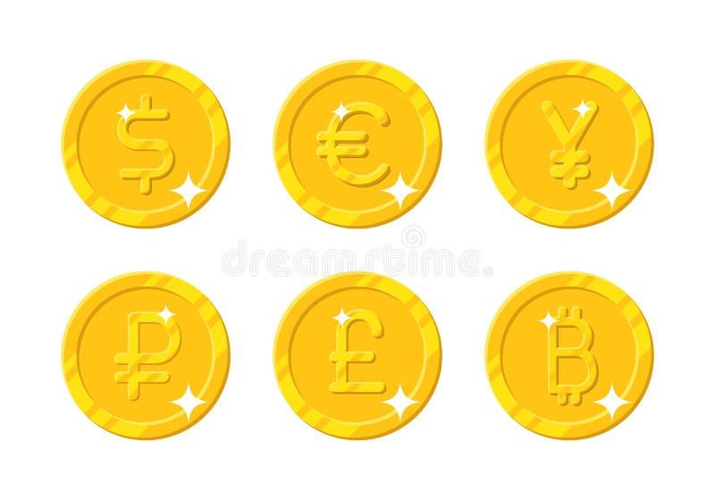 Valuta differente delle monete di oro royalty illustrazione gratis