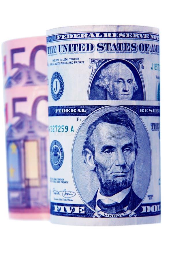 Valuta, dollar och euro på en vit bakgrund royaltyfri foto