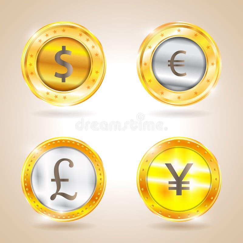 Valuta - dollaren - euroet - pund - yen också vektor för coreldrawillustration vektor illustrationer