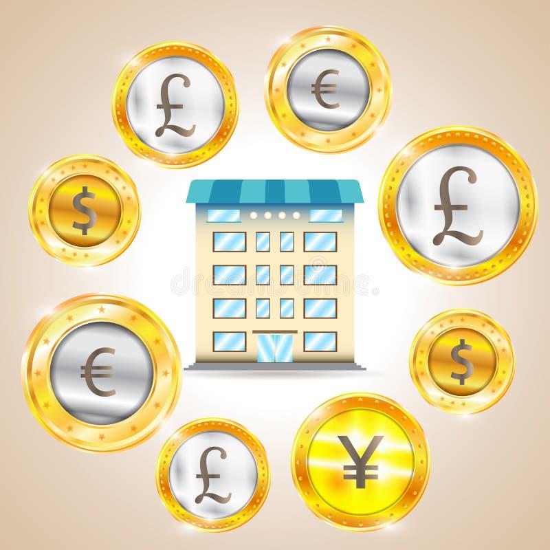 Valuta - dollaren - euroet - pund - yen också vektor för coreldrawillustration stock illustrationer