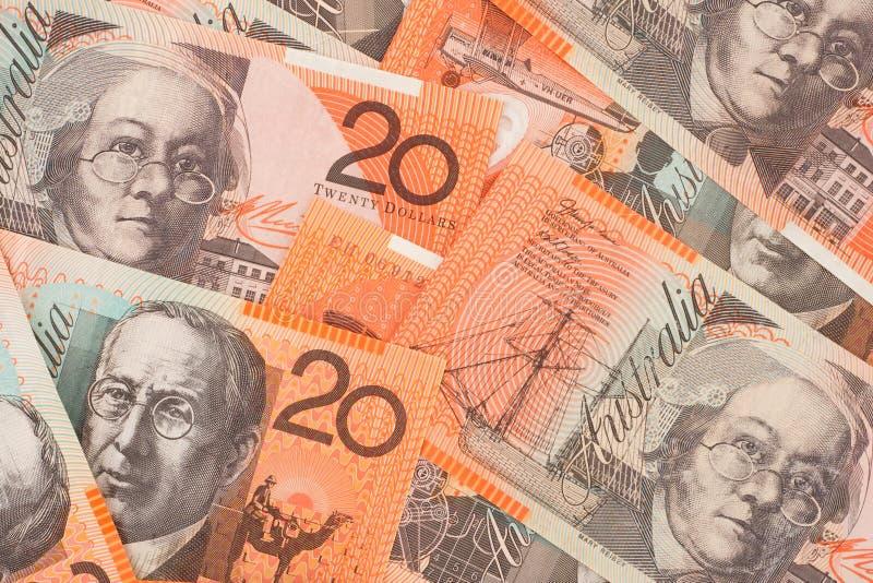 valuta för 20 australiensisk bakgrundssedlar arkivbilder