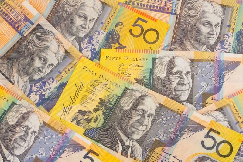 valuta för 50 australiensisk bakgrundssedlar royaltyfria foton
