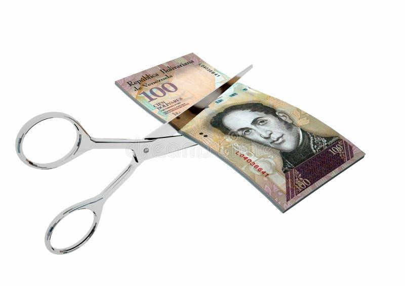 valuta för 3D Venezuela med par av sax royaltyfria foton