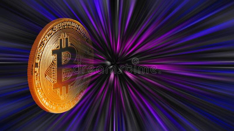Valuta för negativ för utrymme för bakgrund för virvel för Bitcoin cryptocurrencyzoom digital kassa för pengar royaltyfria bilder