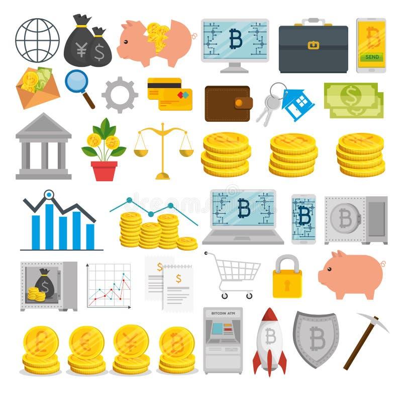 Valuta stabilita del bitcoin e commercio internazionale di scambio illustrazione di stock