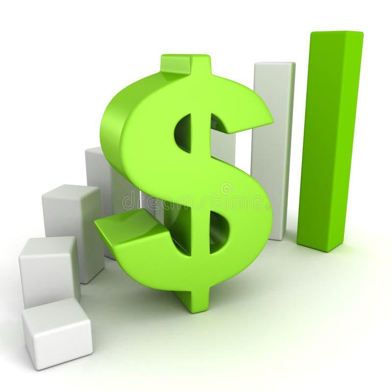 Valutaaffären bommar för grafen med grönt dollarsymbol royaltyfri illustrationer