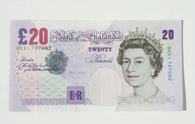 valutaanmärkningspund tjugo uk royaltyfri bild