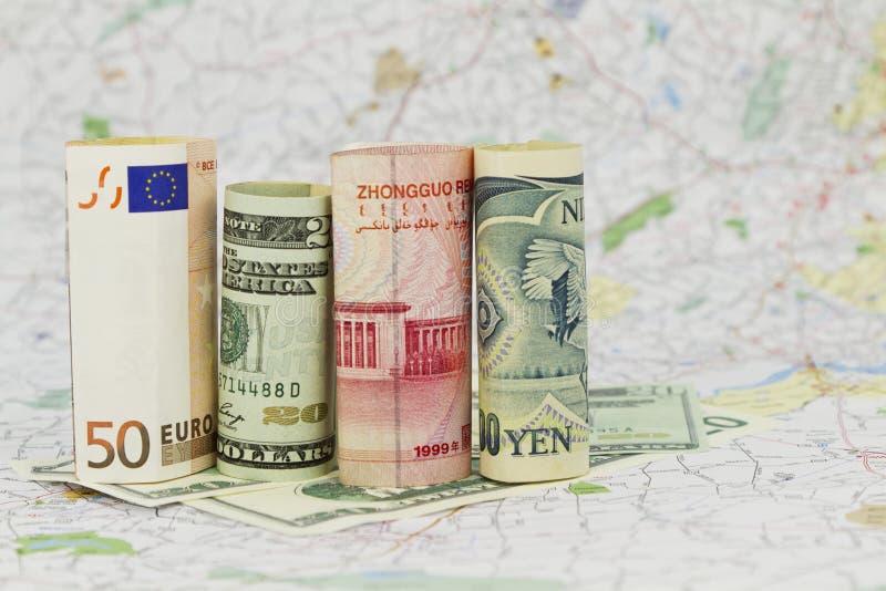 valutadollareuro fyra yen yuan arkivbild