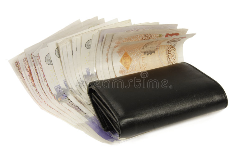 valutaengelskaplånbok arkivbilder