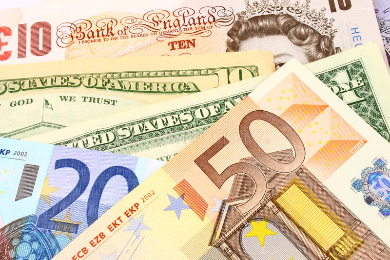 valutaeuro uk oss royaltyfri foto