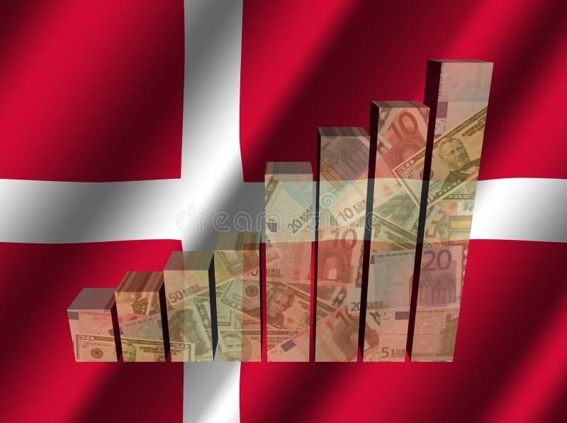 Valutagraf på krusig danskaflaggaillustration royaltyfri illustrationer