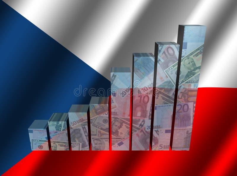 Valutagraf på krusig tjeckisk flaggaillustration stock illustrationer