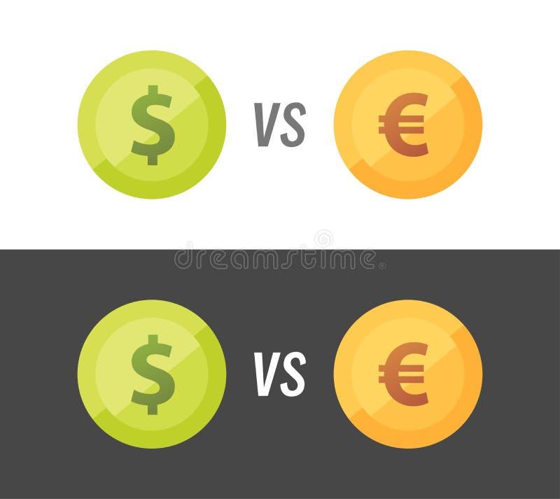 Valutapar av euro vs dollaren - vektorillustration på vit och svart bakgrund vektor illustrationer