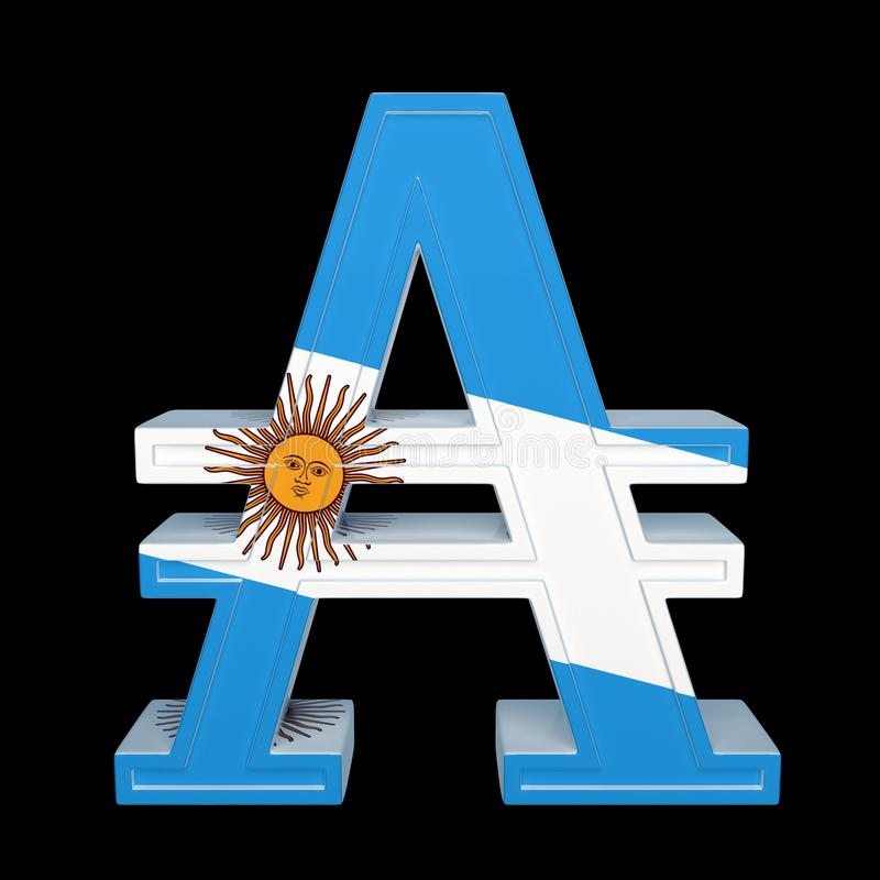 Valutasymbol med nationsflaggan Austral är valutan av Argentina 3d framför isolerat på svart stock illustrationer