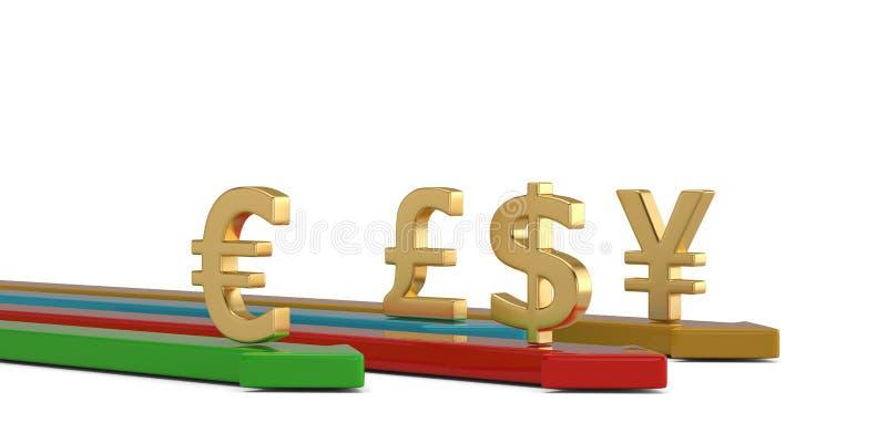 Valutasymbol med pilen som isoleras p? vit bakgrund illustration 3d royaltyfri illustrationer