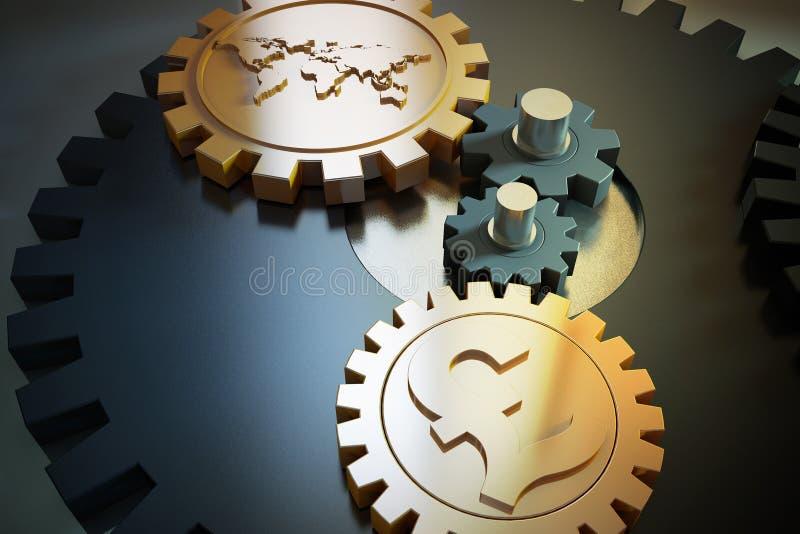 Valutasymboler och kugghjul stock illustrationer