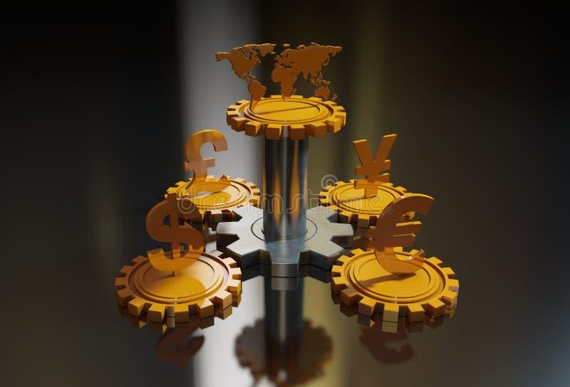 Valutasymboler och kugghjul royaltyfri illustrationer