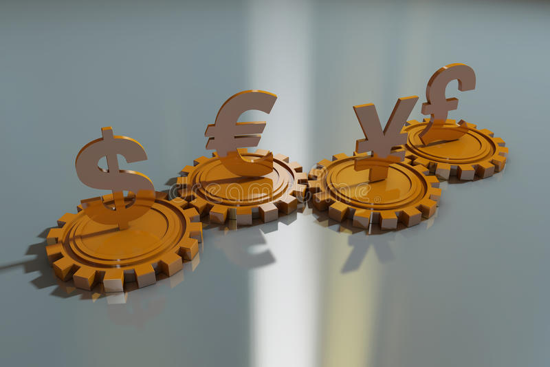 Valutasymboler och kugghjul vektor illustrationer