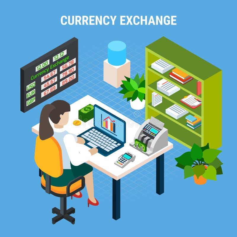Valutautbyte som packar ihop isometrisk sammansättning stock illustrationer
